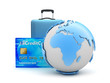canvas print picture - Earth globe, travel bag and credit card