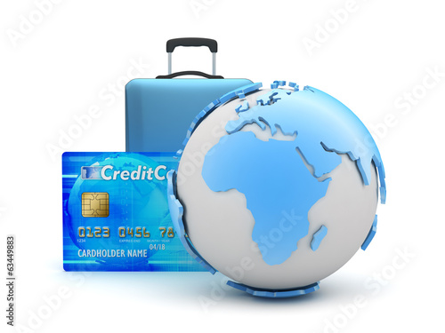 Earth globe, travel bag and credit card