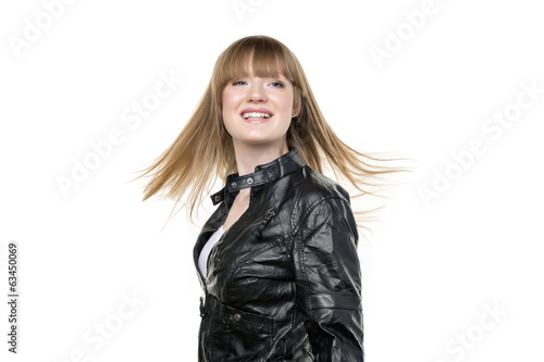 Woman blond waving hair