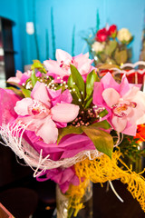 bouquet of pink orchids