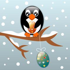 Sfondo di Pasqua con pinguino e uova