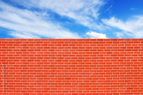 Brick Wall and Blue Sky Background