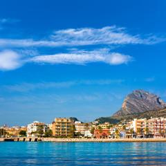 Javea Xabia skyline from Mediterranean sea Spain