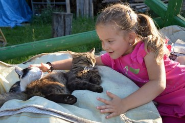 Child - girl with cat