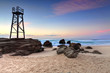 Shark Watch Tower and jagged rocks  Australia - 63451013