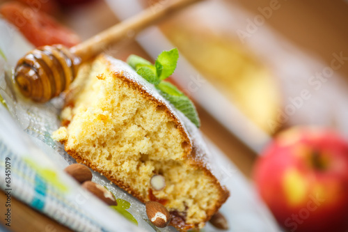 sponge cake with dried apricots and almonds