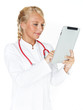 Female doctor works with tablet pc