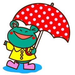 傘をさしたカエルのキャラクター