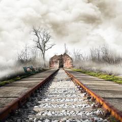 senza-tetto lungo la ferrovia abbandonata