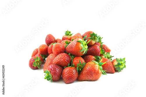 Fresh red ripe perfect strawberries isolated on white