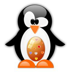 Pinguino con uova di Pasqua di cioccolato