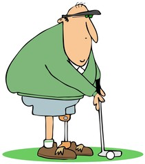 Golfer with an artificial leg