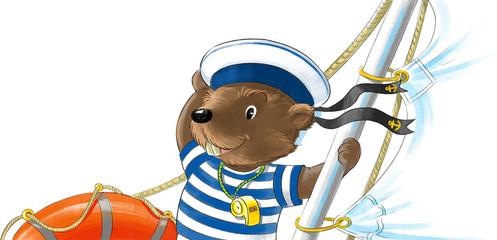 Beaver on yacht.