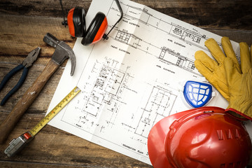 Builders tools and construction plans