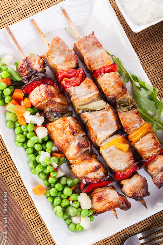 Grilled shashlik with vegetables