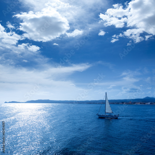 Javea Xabia morning light sailboat in Alicante