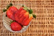Three Fresh Summer Organic Strawberries Still Life, XXXL backgro
