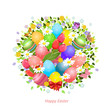 Easter greeting card with eggs and flowers