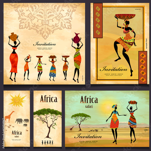 Greeting cards. beautiful woman africa