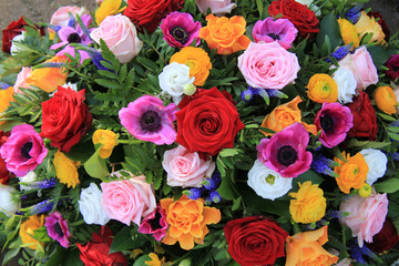 Bright colored bridal flowers