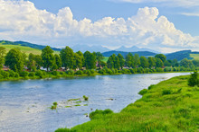 Spring landscape with. The Tatras over The Dunajec River.
