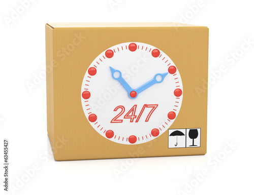 Cardboard box with clock face
