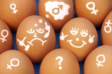Drawing Faces on Eggs with different emotions, XXXL Background