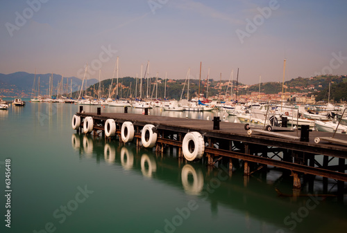 Calm morning,Lerici, Italy - sailing boats in the bay