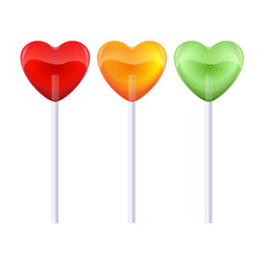 Set of colorful heart-shaped lollipops - red, yellow, green.