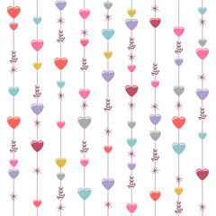 Seamless hanging hearts and stars background on white.