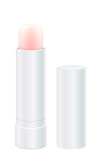 Lip balm vector illustration. Light pink lip stick.