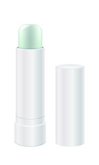 Lip balm vector illustration. Light green lip stick.