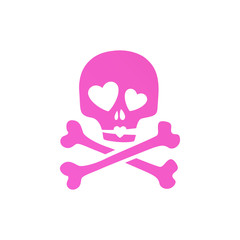 Pink skull in love ironic icon.