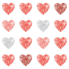 Seamless scribbled heart background. Valentines day design.