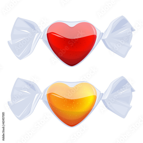 Heart-shaped candies wrapped in transparent film.