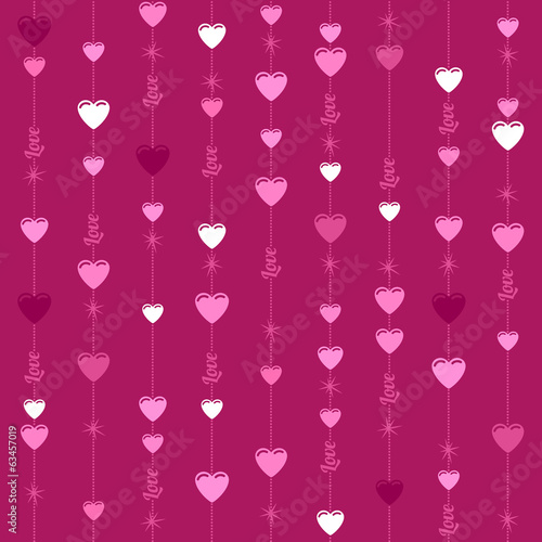 Seamless hanging hearts and stars background - dark pink.