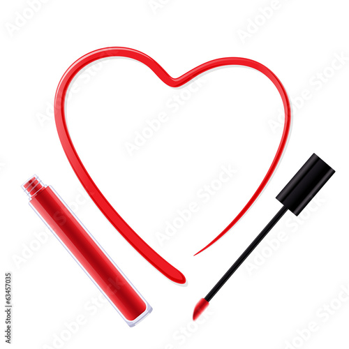 Heart painted of red lip gloss.