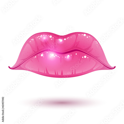 Pink glossy lips on white background.