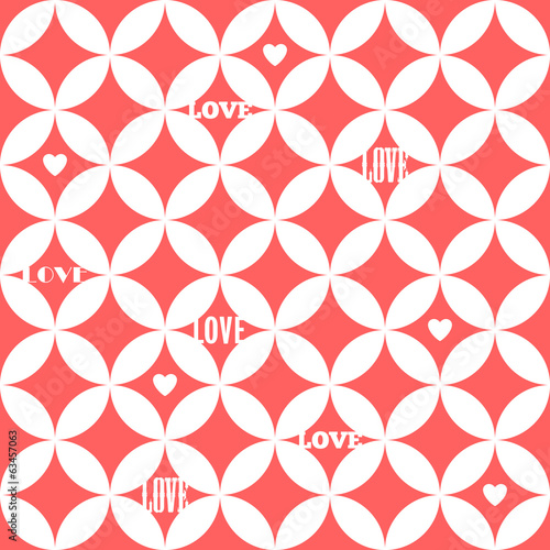 Seamless abstract pattern with words LOVE and hearts.