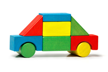 toy car, multicolor wooden blocks transport over white backgroun