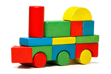 toy train, multicolor locomotive wooden blocks transport