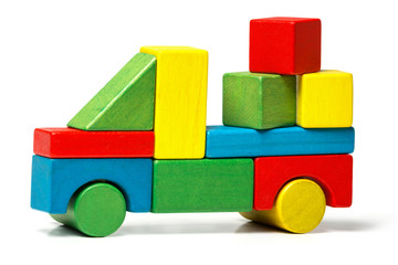 toy truck, multicolor car wooden blocks transportation cargo