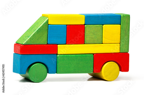 toy bus, multicolor car wooden blocks, transport over white