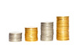 Savings, increasing columns of gold and silver coins isolated on