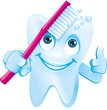 Zahn mit Gesicht putzt Zahnbürste  lacht