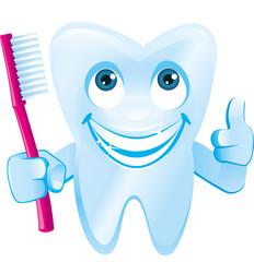 lächelnder Zahn mit Gesicht+Daumenhält Zahnbürste