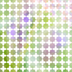Green and lavender defocused background with white ornament