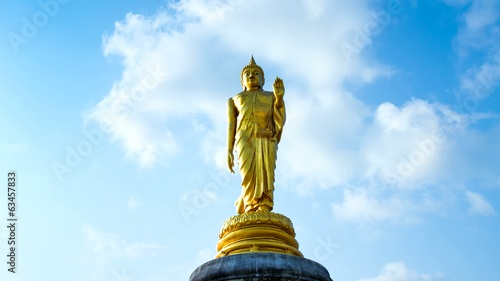 Buddha gold and clouds sky daytime .4 k timelapse.