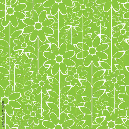 white camomile flowers seamless pattern