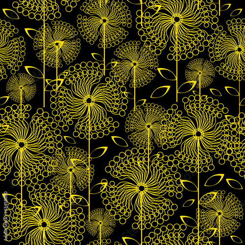 yellow dandelions flowers seamless pattern